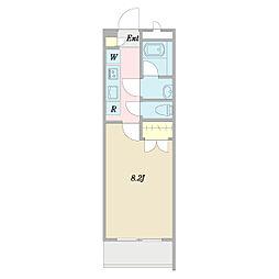 (仮称)ヴェルデ中野哲学堂 2階1Kの間取り