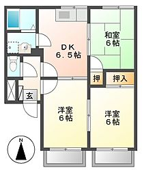 ユタカハイツB棟[1階]の間取り