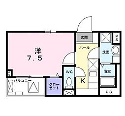 東京メトロ丸ノ内線 中野新橋駅 徒歩15分の賃貸マンション 2階1Kの間取り