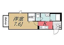 JR内房線 五井駅 徒歩10分の賃貸アパート 2階1Kの間取り