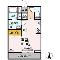 セジュールMC 3階ワンルームの間取り