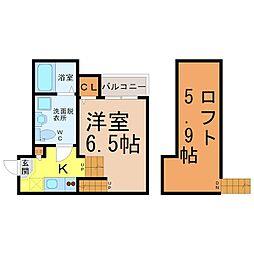 愛知県名古屋市中区新栄2の賃貸アパートの間取り