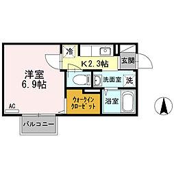 神奈川県厚木市旭町2丁目の賃貸アパートの間取り