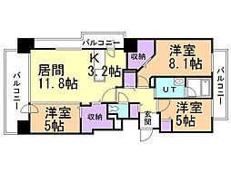 クレアホームズ札幌大通東エスシート 7階3LDKの間取り