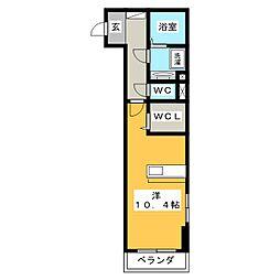 T ブリッジアベニュー 2階ワンルームの間取り