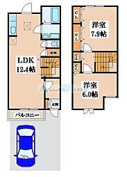 クレベール2番館[1階]の間取り