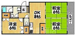 福岡県福岡市東区三苫3丁目の賃貸マンションの間取り