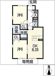 三重県鈴鹿市東玉垣町の賃貸アパートの間取り
