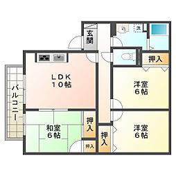アルパポンテ二番館(A)[2階]の間取り
