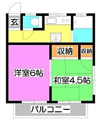 サンハウス松本B[1階]の間取り
