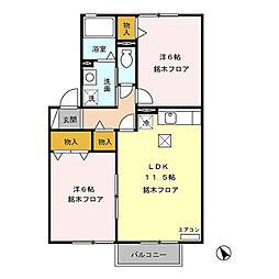セジュール上徳間(千曲市上徳間)A棟[103号室号室]の間取り