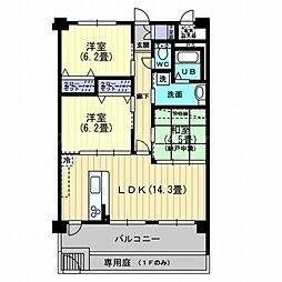 香川県高松市三条町の賃貸マンションの間取り