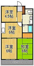 神奈川県横浜市泉区中田西1丁目の賃貸マンションの間取り