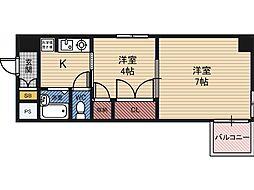 楠青山ビル別館 8階2Kの間取り