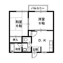 フリートハイツ[1階]の間取り