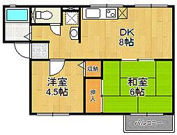 兵庫県伊丹市奥畑1丁目の賃貸アパートの間取り