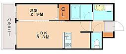 ヴィラージュ博多駅南 3階1LDKの間取り