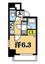 LUXENA東品川 2階1Kの間取り