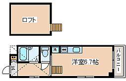 JR東海道・山陽本線 三ノ宮駅 徒歩9分の賃貸マンション 3階ワンルームの間取り