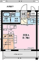 (仮称)船塚1丁目マンション 2階ワンルームの間取り