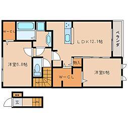 近鉄生駒線 南生駒駅 徒歩6分の賃貸アパート 2階2LDKの間取り