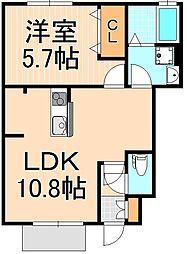 東京都足立区栗原1丁目の賃貸アパートの間取り
