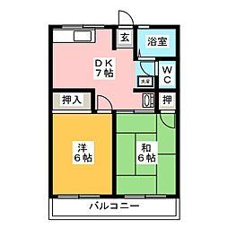 シティハイム奈良橋[2階]の間取り