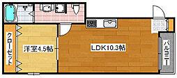 Osaka Metro四つ橋線 北加賀屋駅 徒歩7分の賃貸マンション 3階1LDKの間取り