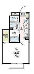 神奈川県横浜市緑区台村町の賃貸アパートの間取り
