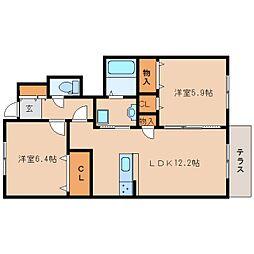 奈良県奈良市南肘塚町の賃貸アパートの間取り