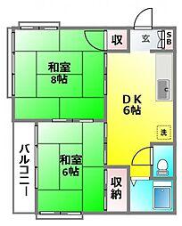 東小金井コーポ[D-2号室]の間取り
