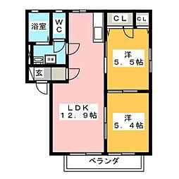 フレグランス342 E[1階]の間取り