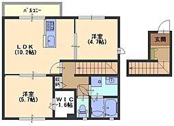 クレールコート B[2階]の間取り