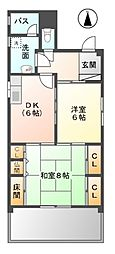 愛知県清須市西枇杷島町南松原の賃貸マンションの間取り