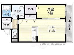 JR東海道・山陽本線 高槻駅 バス22分 上土室下車 徒歩2分の賃貸アパート 2階1LDKの間取り