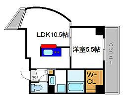 パルティール六甲 2階1LDKの間取り