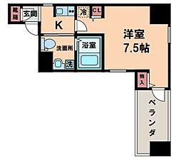 エステムコート北堀江 8階1Kの間取り