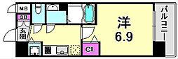 アドバンス神戸プリンスパーク 3階1Kの間取り