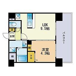 三島マンション博多駅東 4階1LDKの間取り