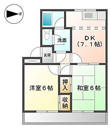愛知県あま市坂牧西之宮の賃貸アパートの間取り