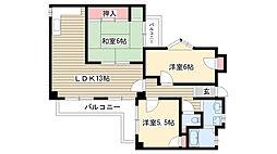 愛知県名古屋市名東区代万町3丁目の賃貸マンションの間取り