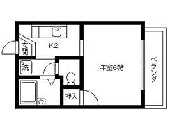 京都府京都市北区紫野下柳町の賃貸アパートの間取り