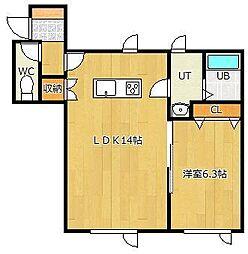 LIFE[1-B号室]の間取り