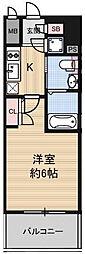 阪神本線 淀川駅 徒歩3分の賃貸マンション 6階1Kの間取り