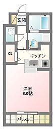 大阪府寝屋川市木田元宮2丁目の賃貸アパートの間取り
