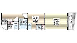 サニーコート豊村[602号室]の間取り