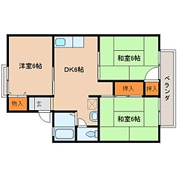 奈良県大和高田市池尻の賃貸アパートの間取り