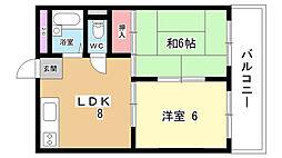 大阪府豊中市刀根山4丁目の賃貸マンションの間取り