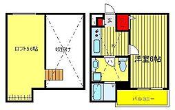 千葉県柏市北柏2の賃貸アパートの間取り
