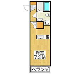 THE GARNET SUITE RESIDENCE深草 2階ワンルームの間取り